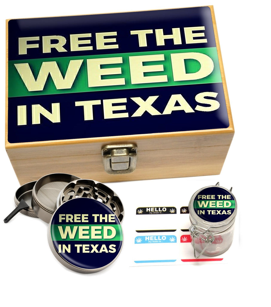 "Small ""Free The Weed In Texas"" Stash Box Set"