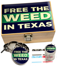 "Small ""Free The Weed In Texas"" Bamboo Stash Box Set"