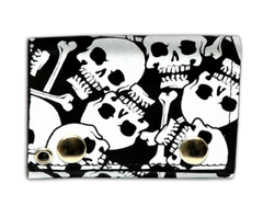 "Tri Fold Leather Wallet with 14"" Chain- Multi Skull"