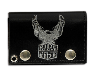 "Tri Fold Leather Wallet with 14"" Chain- Ride To Live, Live To Ride"