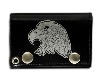 "Tri Fold Leather Wallet with 14"" Chain- Eagle Head"