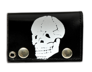 "Tri Fold Leather Wallet with 14"" Chain- Bone Head Skull"