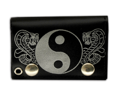 "Tri Fold Leather Wallet with 14"" Chain- Yin-Yang"