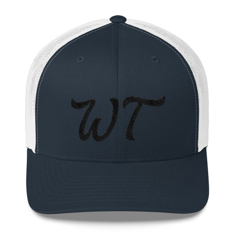 WT Black Embroidery Trucker Cap
