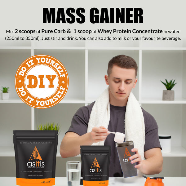 AS-IT-IS Mass Gainer - 1.5kg Combo | Carb & Protein Ratio 2:1| Do-It-Yourself Mass Gainer | Unflavoured|