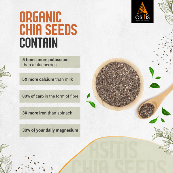 Organic Chia Seeds - 350g | Vegan Source of Protein | Antioxidant-Rich | High In Fibre