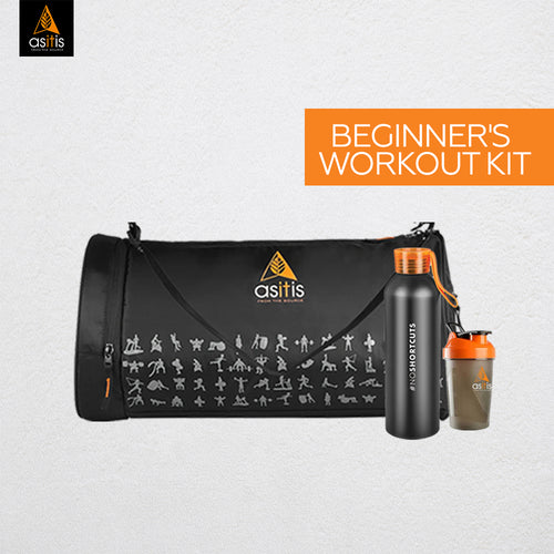 AS-IT-IS Beginners Workout Kit with Gym Bag | Shaker | Metal Water Bottle
