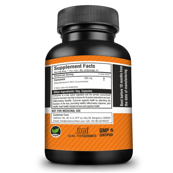 AS-IT-IS Nutrition 100% Pure Curcumin Capsules, 500mg- 60 counts | 95% CurcumInoids | Lab Tested
