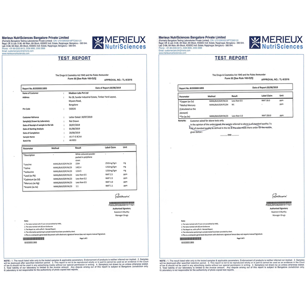 bcaa lab test report