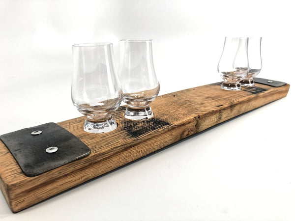 Authentic Barrel Flight Tray (W/ 4 Glencairn Tasters) Flight Tray