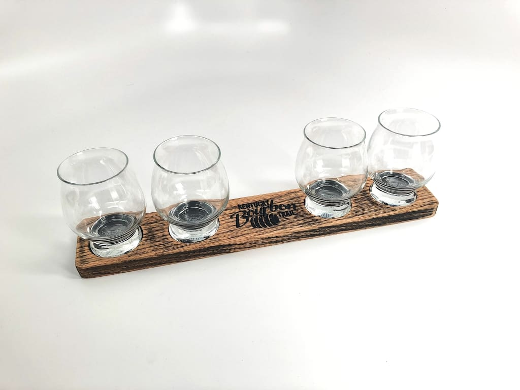 Official Kentucky Bourbon Trail Flight Tray (W/ 4 Branded Tasters) Flight Tray