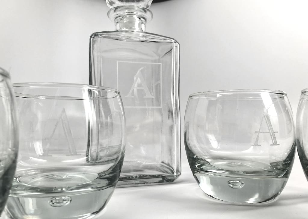Personalized Decanter Set W/ Four Rocks Glasses Glassware
