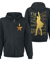 Mens Hamilton Not Throwing Away My Shot Zip-up Hoodie Golden Logo An American Musical Unisex hooded Hoodie