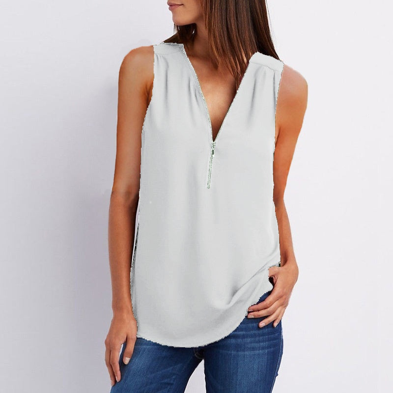8968aa7d2fac Item Type  Tops   T-shirts. Clothing Length  Regular Sleeve Length   Sleeveless Decoration  Zipper Sleeve Style  Regualr Pattern Type  Solid  Collar  V-neck