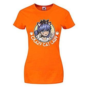 Crazy Cat Lady Anime Girl Ladies Womens T-shirt
