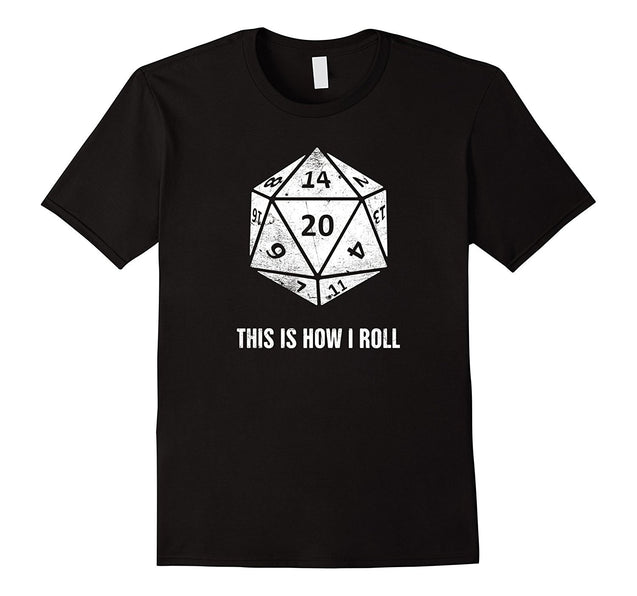 This Is How I Roll Distressed d20 Dungeons Funny Gildan T-Shirt