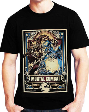 Mortal Kombat Scorpion Sub Zero Game 38 Black Timber Black Men T-shirt