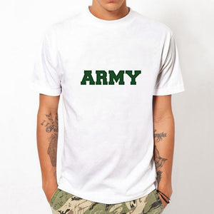 2017 Fashion Men's Summer Casual Tops Hipster ARMY Letters Printed T Shirt Own Style White T-shirts