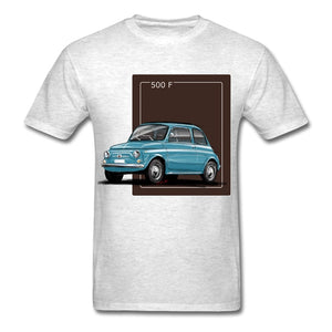 Breathable Fiat 500 Blue Illustration Men T-Shirt Summer Fashion Style