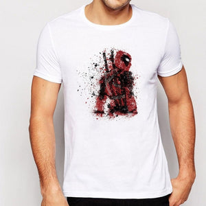 2017 Men Summer Deadpool Wallpapers HD painting  Creative  Men's Tops Short Sleeve Casual T-Shirt