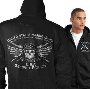 Zip Hoodie USMC. No Better Friend. No Worse Enemy.Zip-up Unisex Pullover Hoodie Black