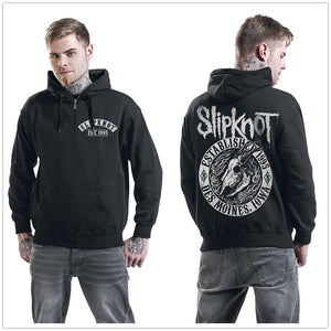 Slipknot Flaming Goat Hooded Zip-up Unisex Hooded Hoodie Sweatshirt Black