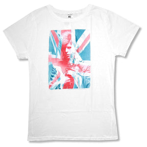 Juniors David Bowie \Union Jack\ White Baby Doll T-Shirt
