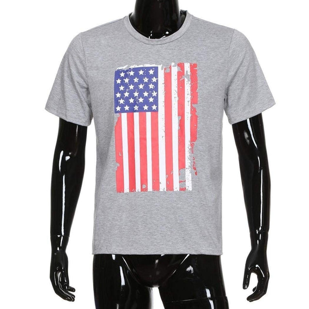 Men's Casual O-Neck American Flag short sleeved T-shirt summer fashion loose funny tee shirt For Men