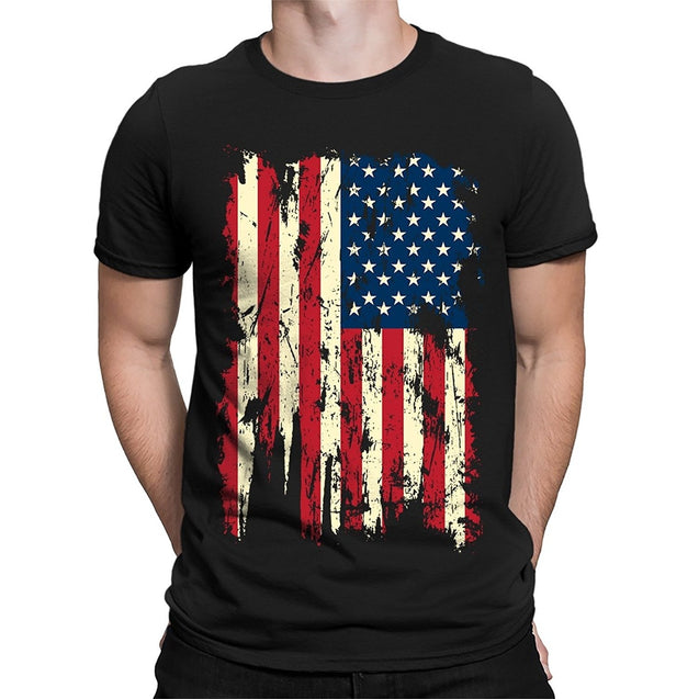 Apparel Vintage Distressed USA Flag Men's T-Shirt O-Neck short sleeved T shirt summer fashion loose funny tee shirt For Men