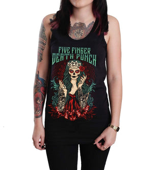 Women's Tops Five Finger Death Punch Lady Muerta Unisex Tank Top Shirt Black