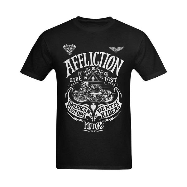 Summer Casual Fitness Tee Tops ClothingMens Affliction American Death Ride Motorcycle Design T-Shirt