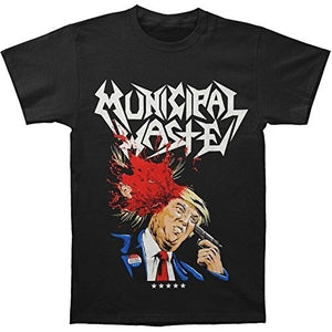 Men Cotton T-shirt Funny Black fashion shirt,Printed T-shirt Municipal Waste Men's Trump Walls Of Death T-shirt Black