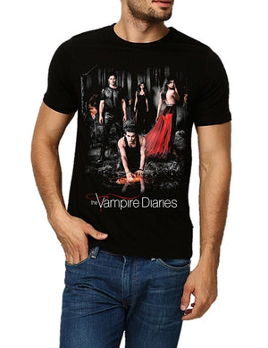 Men Summer T Shirt The Vampire Diaries Unisex Fitted Cotton T-shirt Short Sleeve Cause Tee Shirts FashionMale Cool Casual tee Shirts