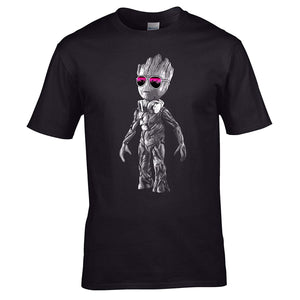 Summer Tops Shirts Tee  DJ Baby Groot Standing Headphones + Sun Glasses T Shirt