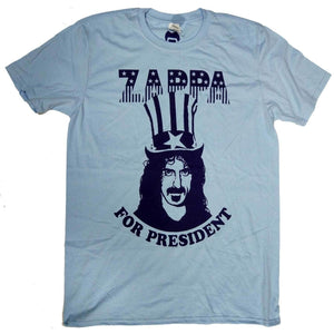 Frank Zappa T Shirt - Zappa for President Blue 100% Summer T Shirt