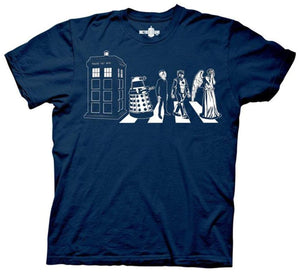 Summer Fashion Tees Doctor Who Detailed Street Crossing Mens Navy Blue T-Shirt