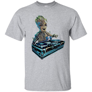 Mens Unisex Funny Baby Groot DJ Guardians Galaxy Cotton T-Shirt