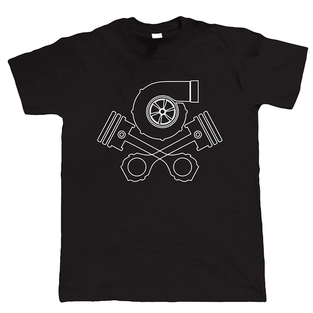 Turbo Skull and Crossbones, Mens Car Tuning T Shirt