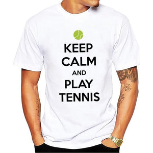 Keep Calm And Play Tennis Casual Summer men Letter Pattern T Shirt Men O-Neck T Shirts Clothing