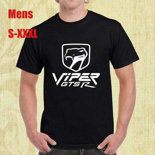 Dodge Viper Classic Logo Viper Sneaky Pete Dodge Viper Gts R Motorsports Mens Black shirts Tops Cotton Printed Short Sleeves Funny Graphic Tee Shirt Round Neck Casual Clothing