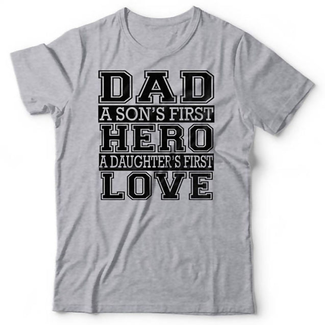 New Fashion Men's Printed Shirts Tops Grey Funny Tees DAD A SON'S HERO AND DAUCHER'S LOVE Father's Day Gift