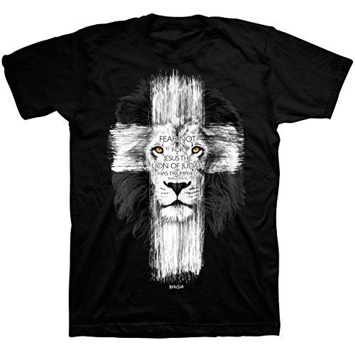 Cheap Men T shirt Lion Cross T-Shirts Tops Tee Black