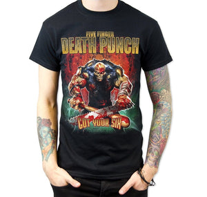 Fashion Shirts Tops Printing Five Finger Death Punch Got Your Six Men's T Shirt Black