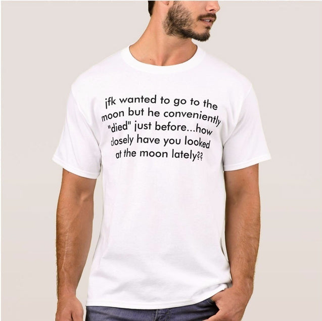 Jfk Is Trapped In The Moon Letters Shirts Tops Summer Fashion Printed Men's Tops Custom Hipster Tees