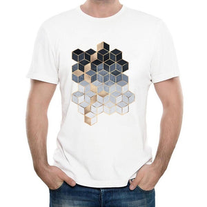 Newest Summer Blue Gradient Cubes Shirts Tops Men's Custom Geometric T Shirt High Quality Male Casual Tee Tops