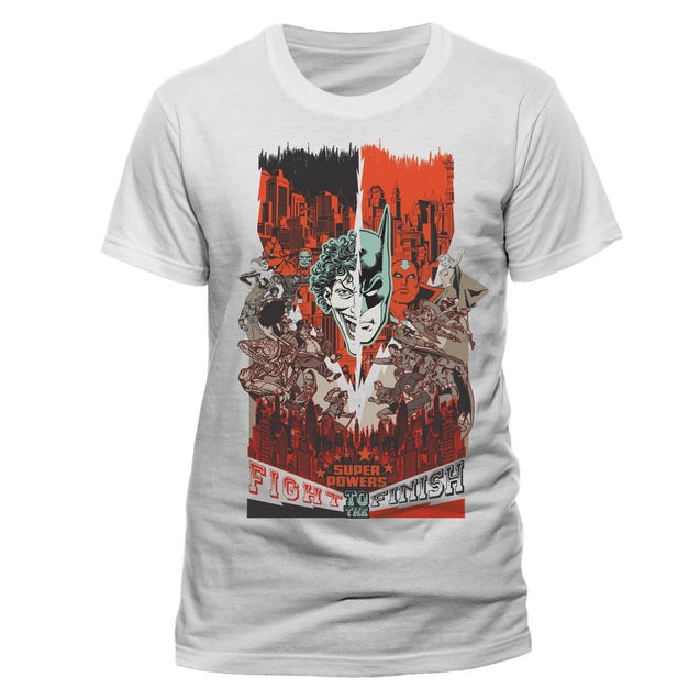Dc Comics Batman Vs the Joker 'fight to the Finish' White T-Shirts Tops Tee