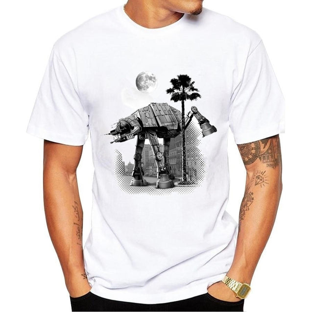 Summer Tops-2018 Men t shirt fashion Cool Star Wars Empire Sketch robot White hip pop funny Short sleeve t-shirt summer tee shirt hommeShirts Tee
