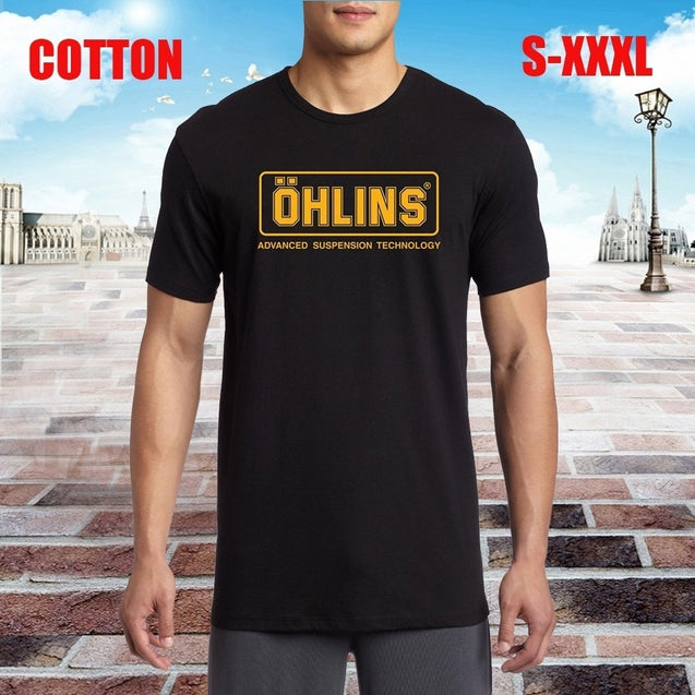 Ohlins Superbike Motogp Racing Suspension Logo Mens Black T Shirt Cotton Casual Short Sleeves Funny Tee Shirt