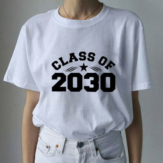 Simple Letter Class of 2030 Printed White Cotton 2017 Fashionable Women's O-ring short sleeve T-shirt Tops Shirt Tee