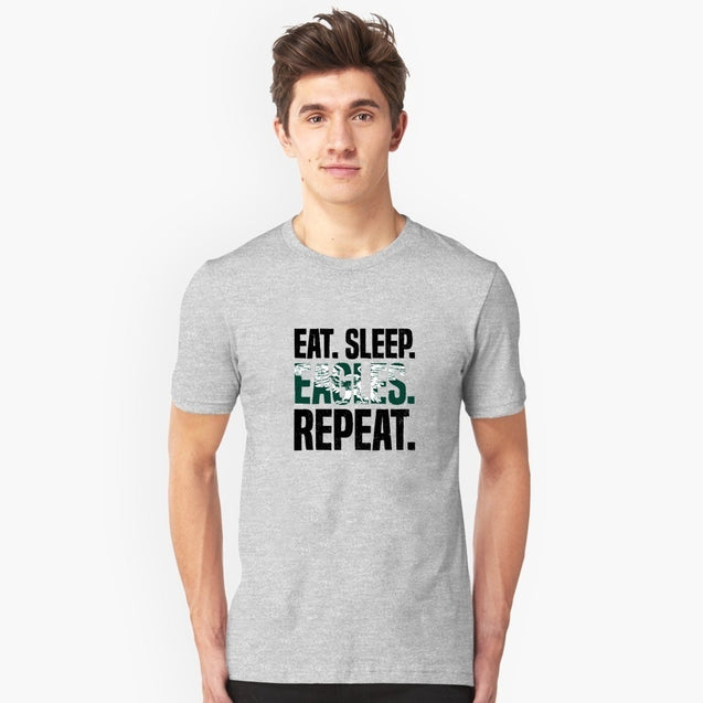 Eat Sleep Eagles Repeat Distressed Football Sport men's large size cotton short-sleeved shirt casual sweat-absorbent breathable printing T-Shirt Tops Tee